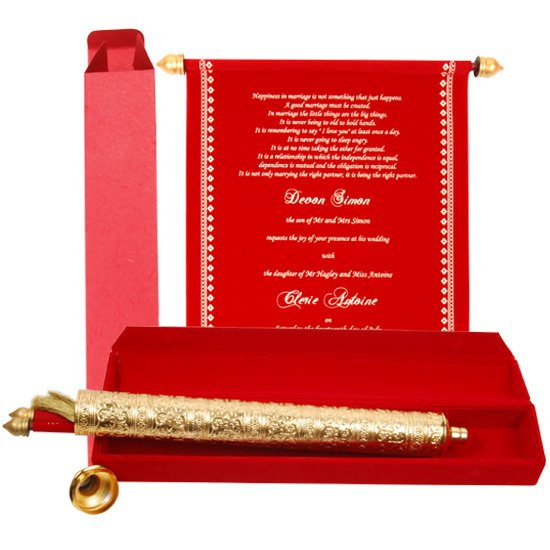 Scroll Invitations Indian Wedding