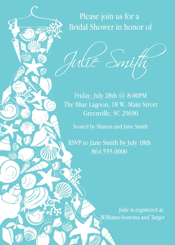 Seashell Bridal Shower Invitations