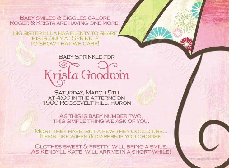 Second Baby Shower Invitation Wording