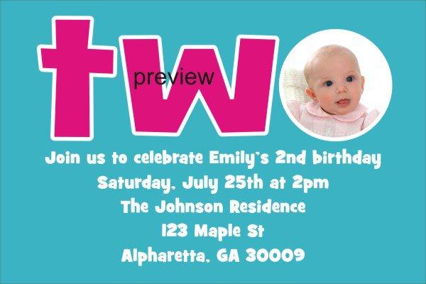 Second Birthday Invitation Wording Samples