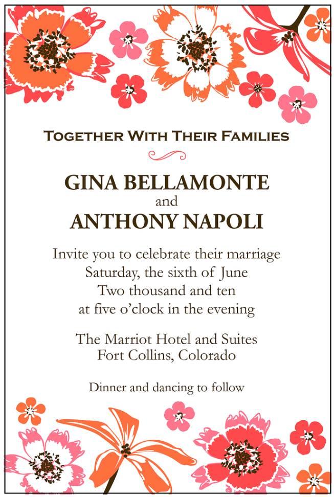 Second Wedding Invitation Wording No Gifts