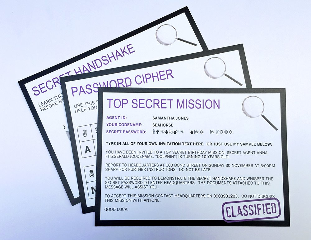 Secret Agent Party Invitations