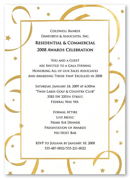 Service Award Luncheon Invitation Wording