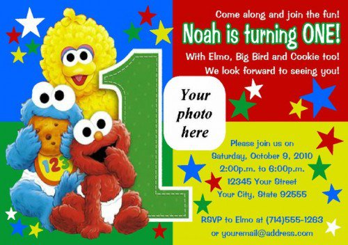 Sesame Street First Birthday Invitations Sayings
