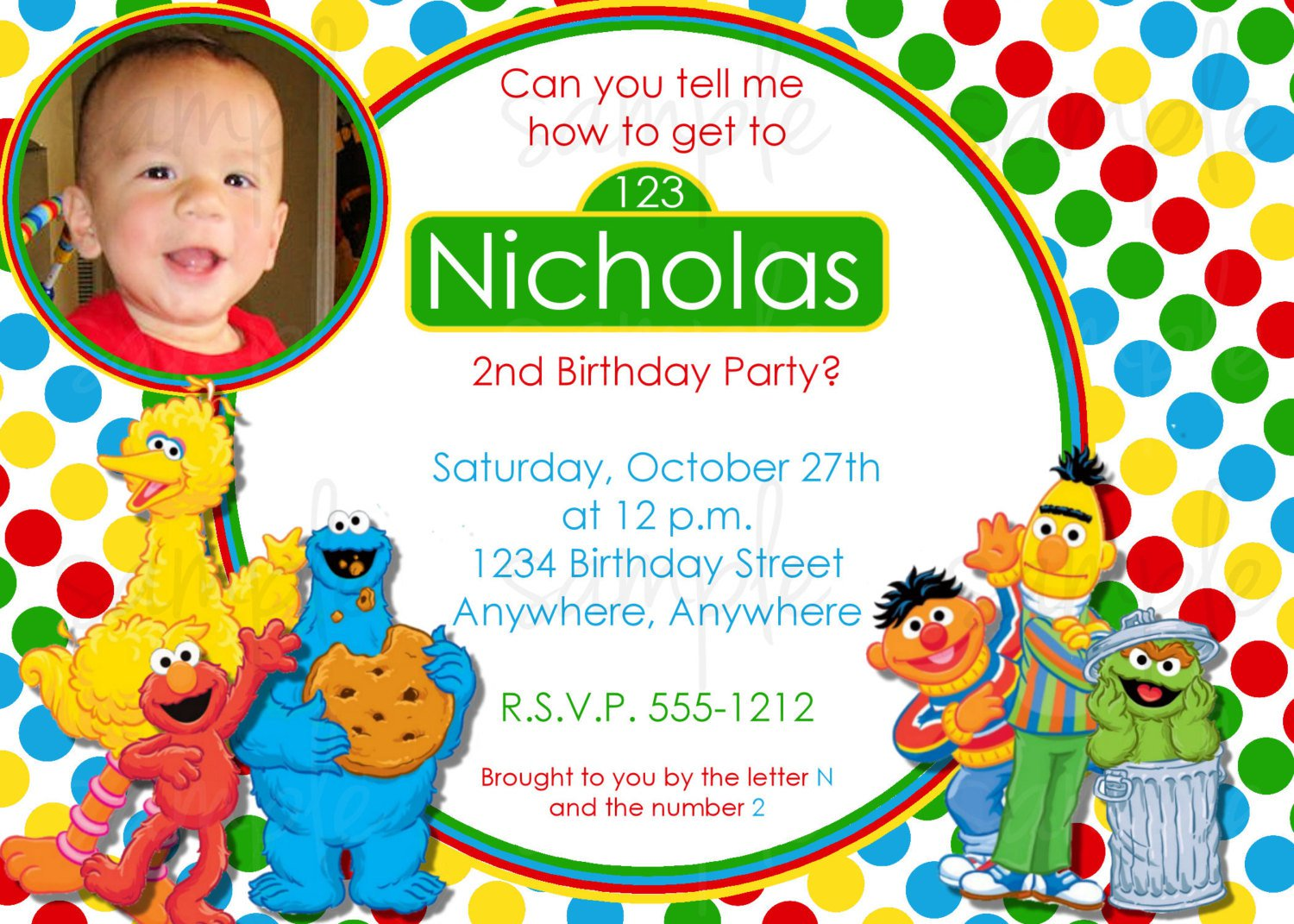 Sesame Street Invitation Templates