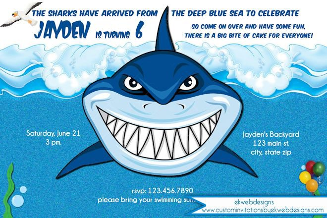 Shark Birthday Invitation Template