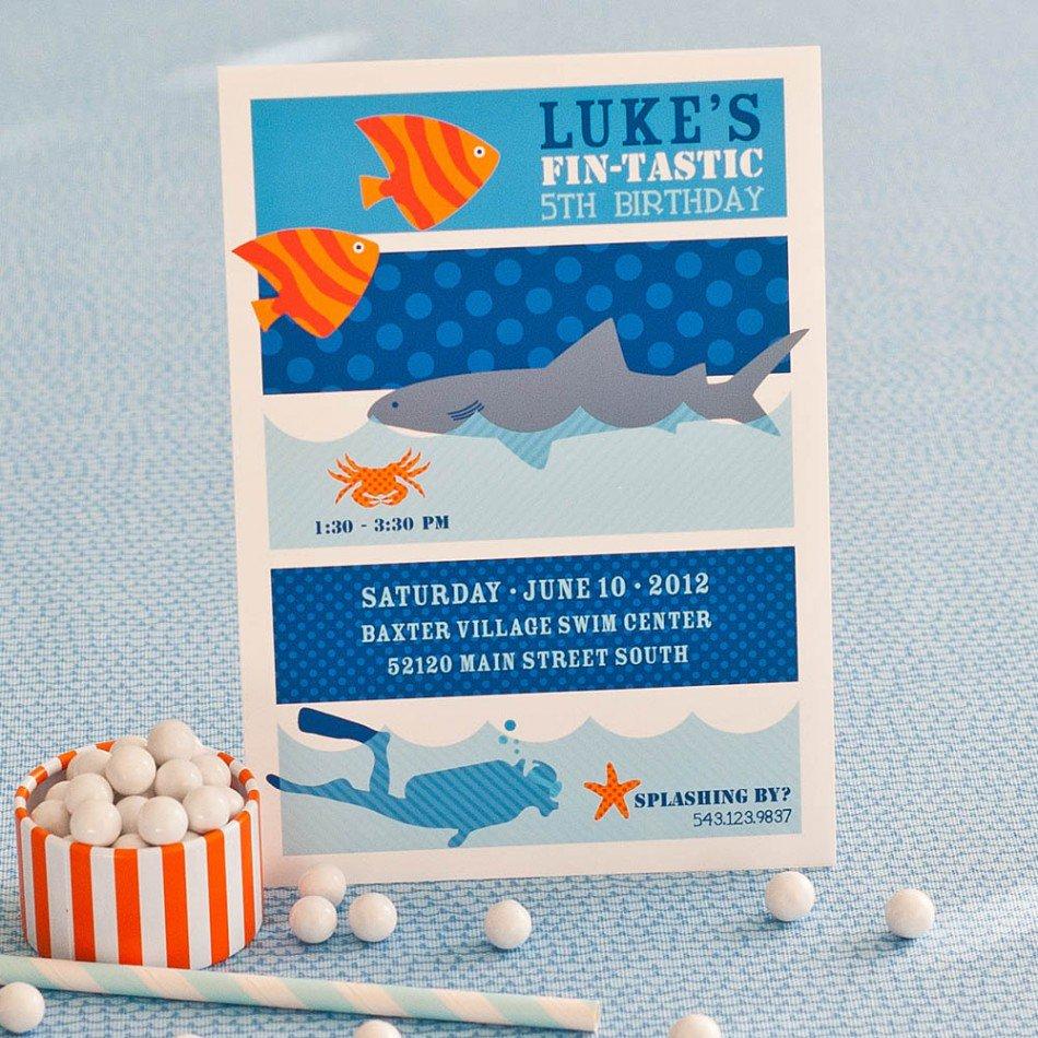 Shark Birthday Invitations Blank