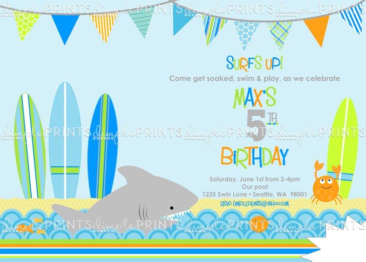 Shark Printable Birthday Invitations For Boys
