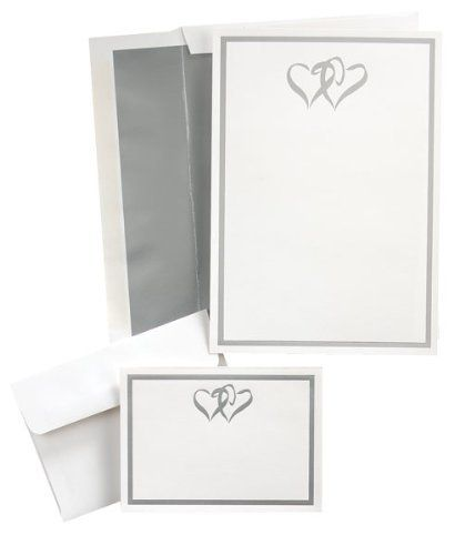 Silver Double Hearts Wedding Invitation Kit