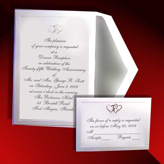 Silver Entwined Hearts Wedding Invitations