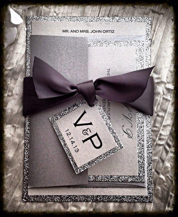 Silver Glitter Wedding Invitations
