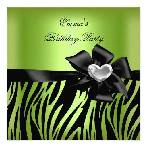Silver Red Green Birthday Invitations
