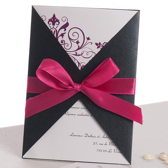 Simple Wedding Invitations With Ribbon