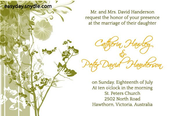 Basic Wedding Invitation Wording: Simple Wedding Reception Invitation Wording