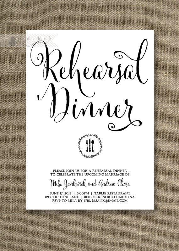 Simple Wedding Rehearsal Invitations