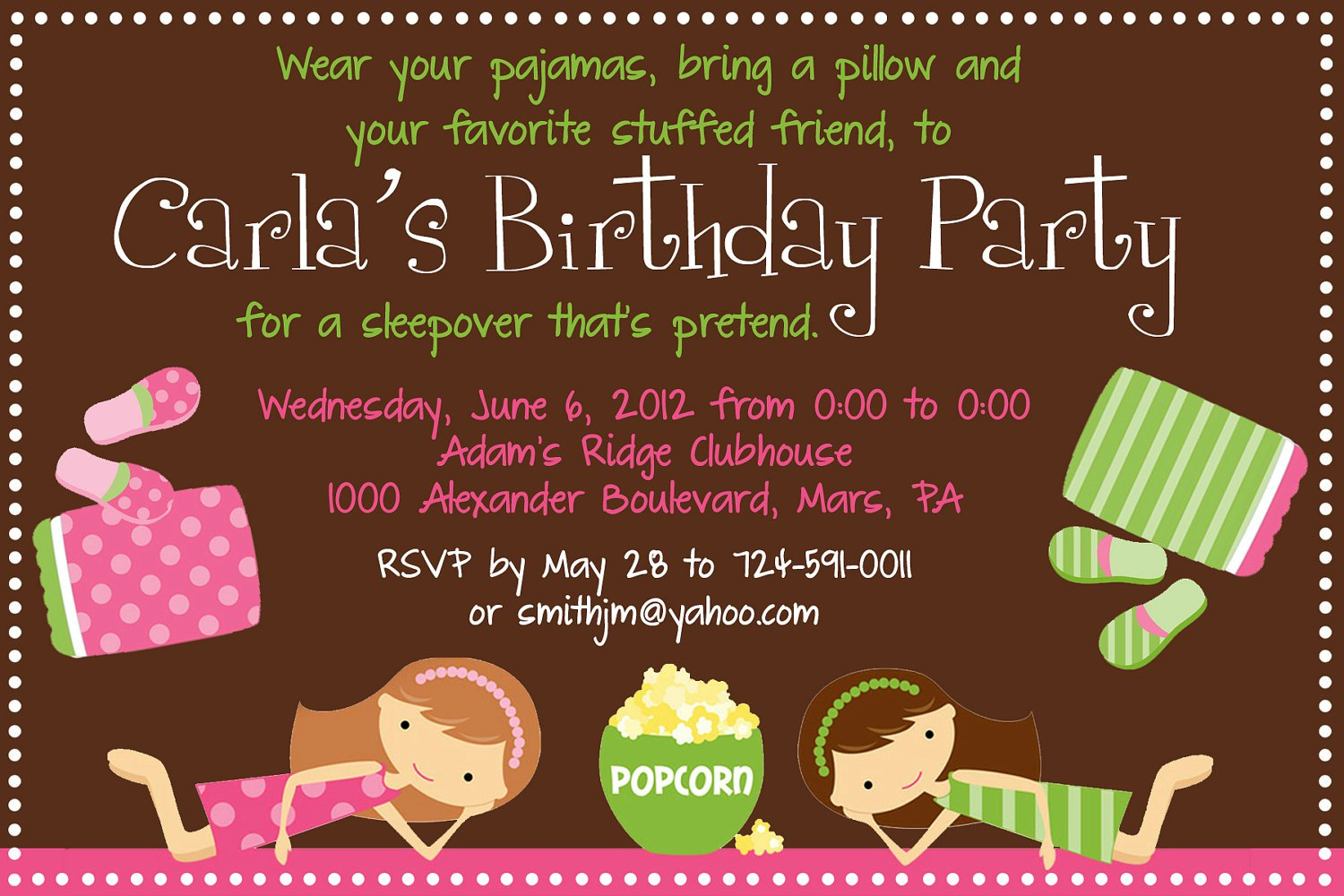 Sleep Over Birthday Invitation Wording