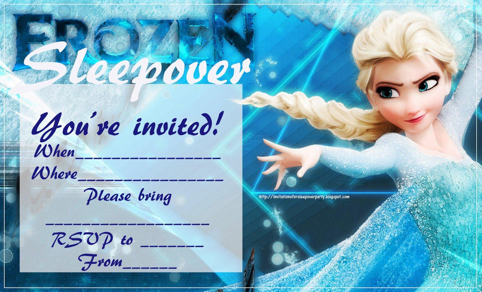 Sleep Over Party Invitations Frozen Summer
