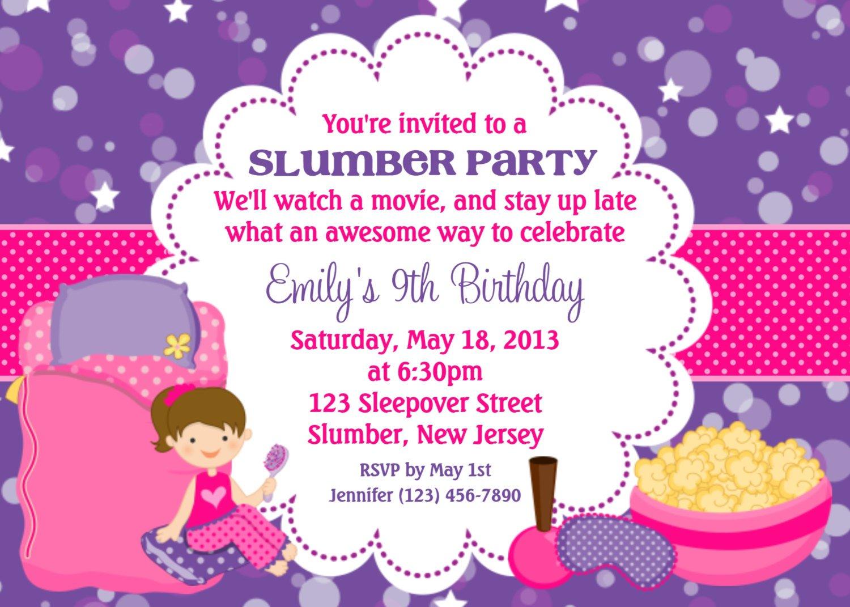 Slumber Party Invitation Wording Samples