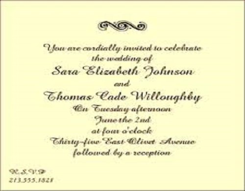 Small Wedding Invitation Card