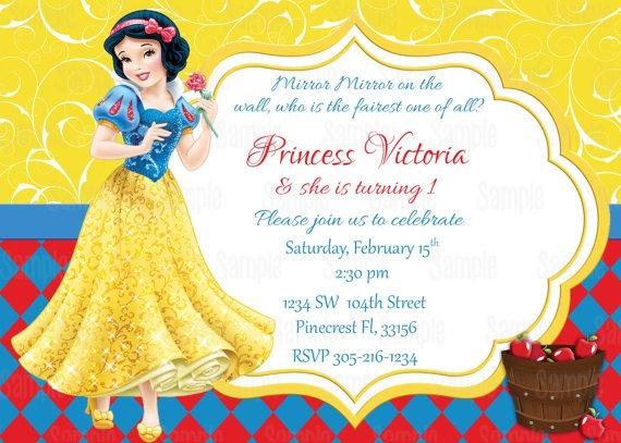 Snow White Birthday Invitation Card