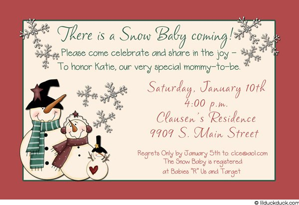 Snowman Birthday Party Invitations
