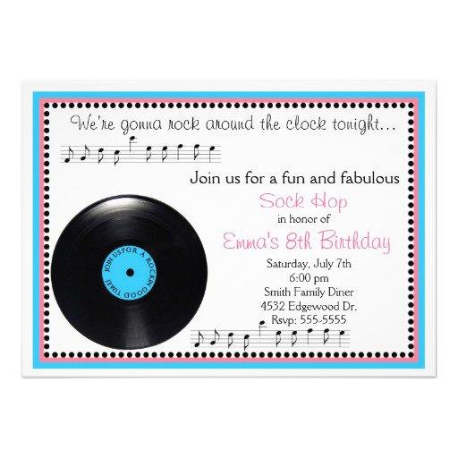 Sock Hop Birthday Party Invitations