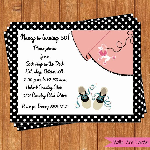 Sock Hop Invitation Templates