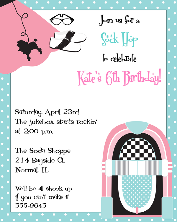 Sock Hop Party Invitation Wording