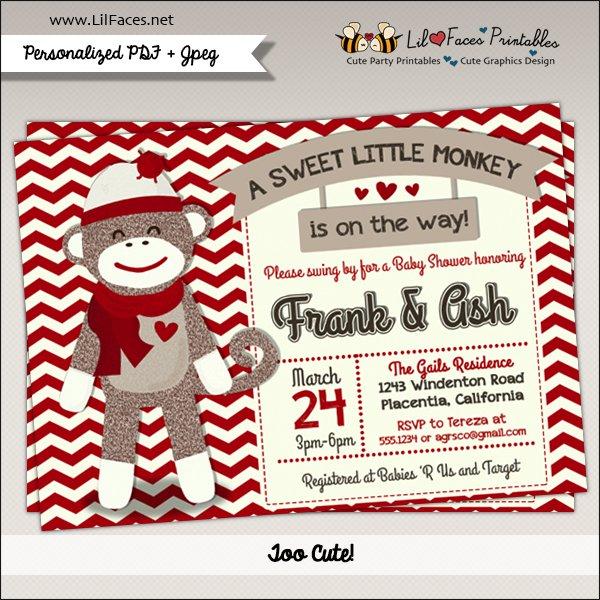 Sock Monkey Baby Shower Invitation Printable