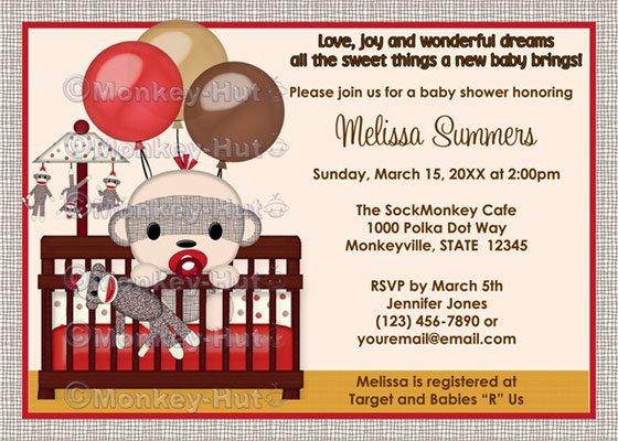 Sock Monkey Baby Shower Invitation Template