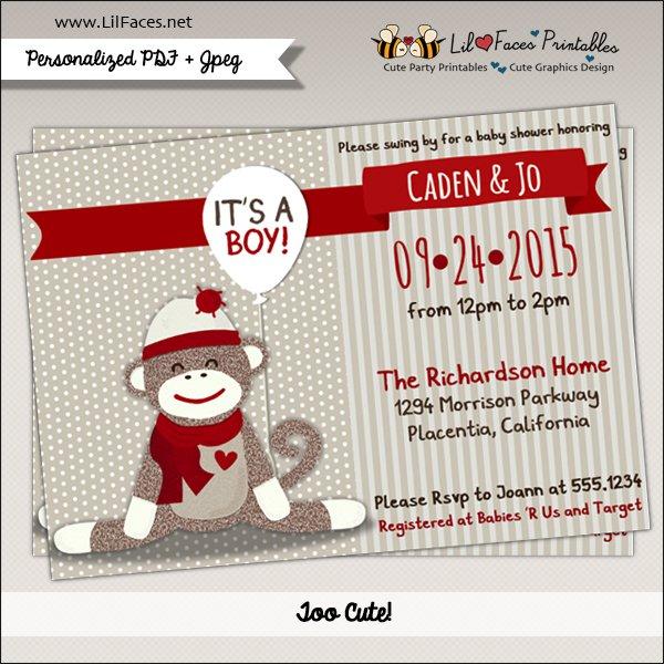Sock Monkey Baby Shower Printable Invitations