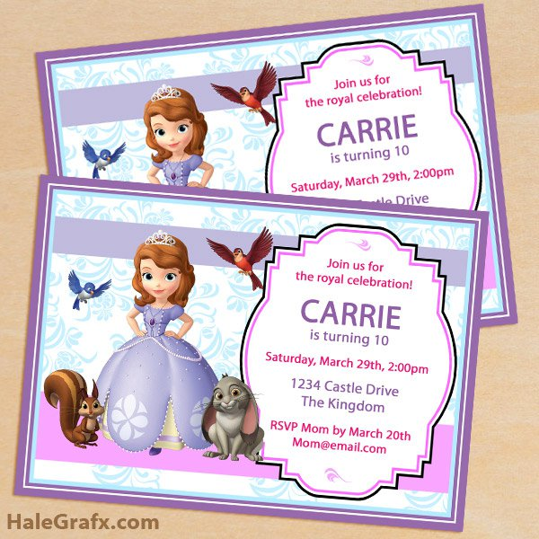 Sofia The First Printable Party Invitations