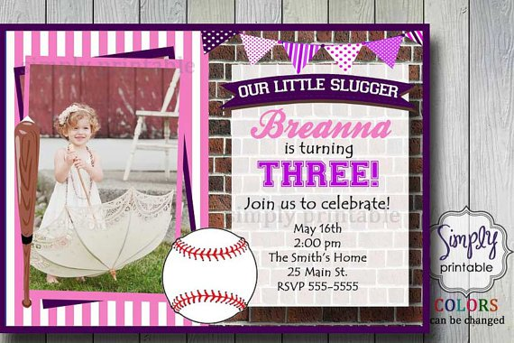 Softball Birthday Invitations For Girls