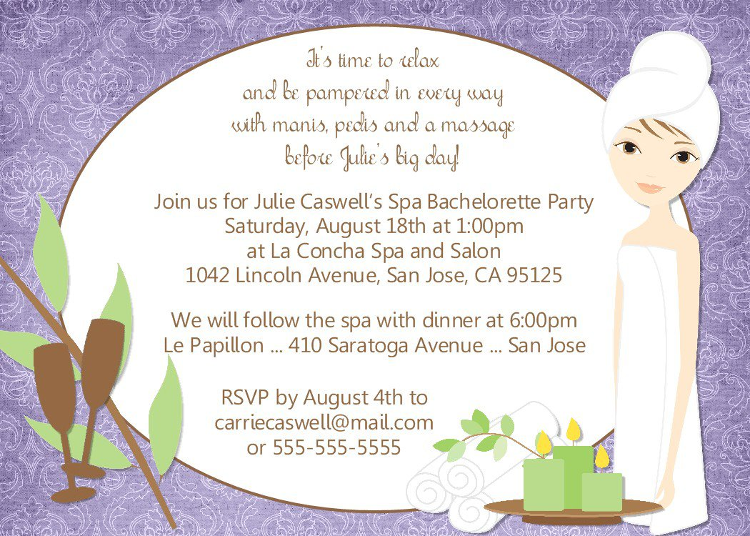 Spa Bachelorette Party Invitation Wording