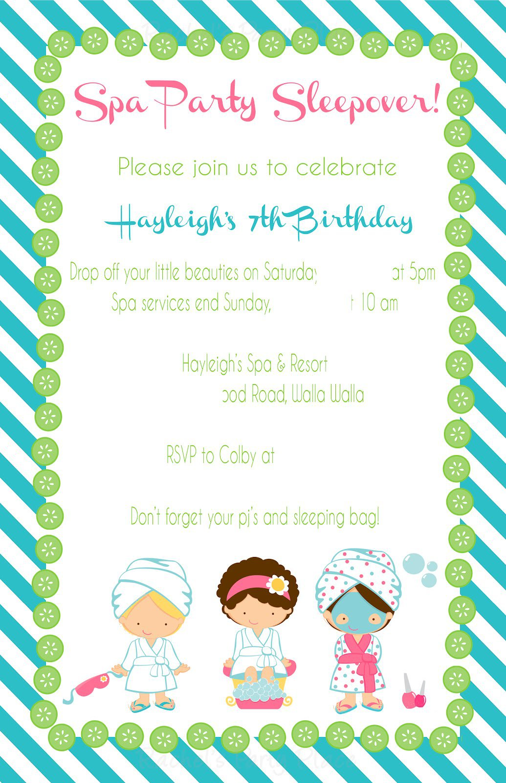 Spa Birthday Party Invitation Wording