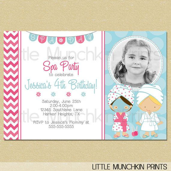 Spa Day Birthday Invitations