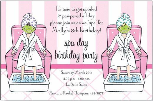 Spa Day Birthday Party Invitations