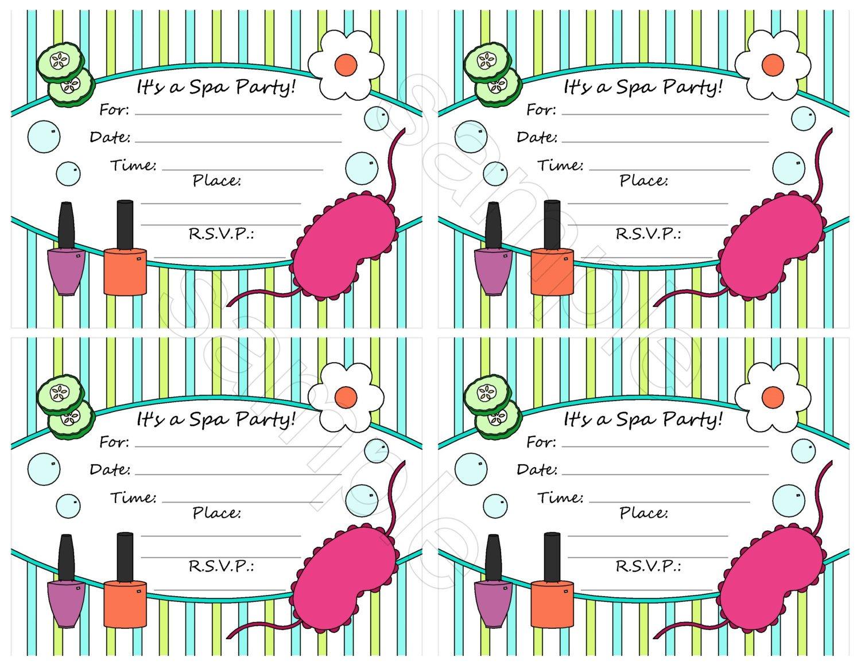 Spa Party Invitation Blank Templates