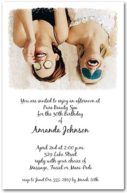 Spa Party Invitations For Women