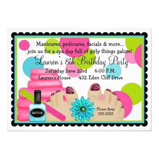 Spa Party Invitations Wording