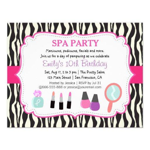 Spa Party Zebra Invitations