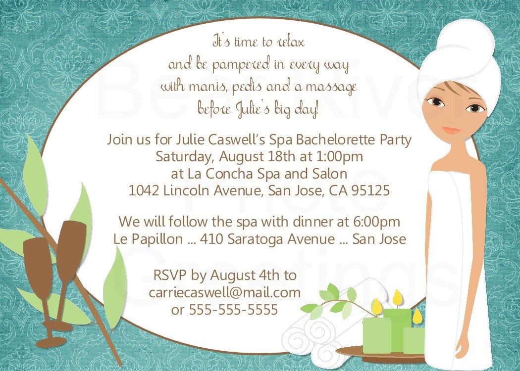Spa Themed Bachelorette Party Invitations