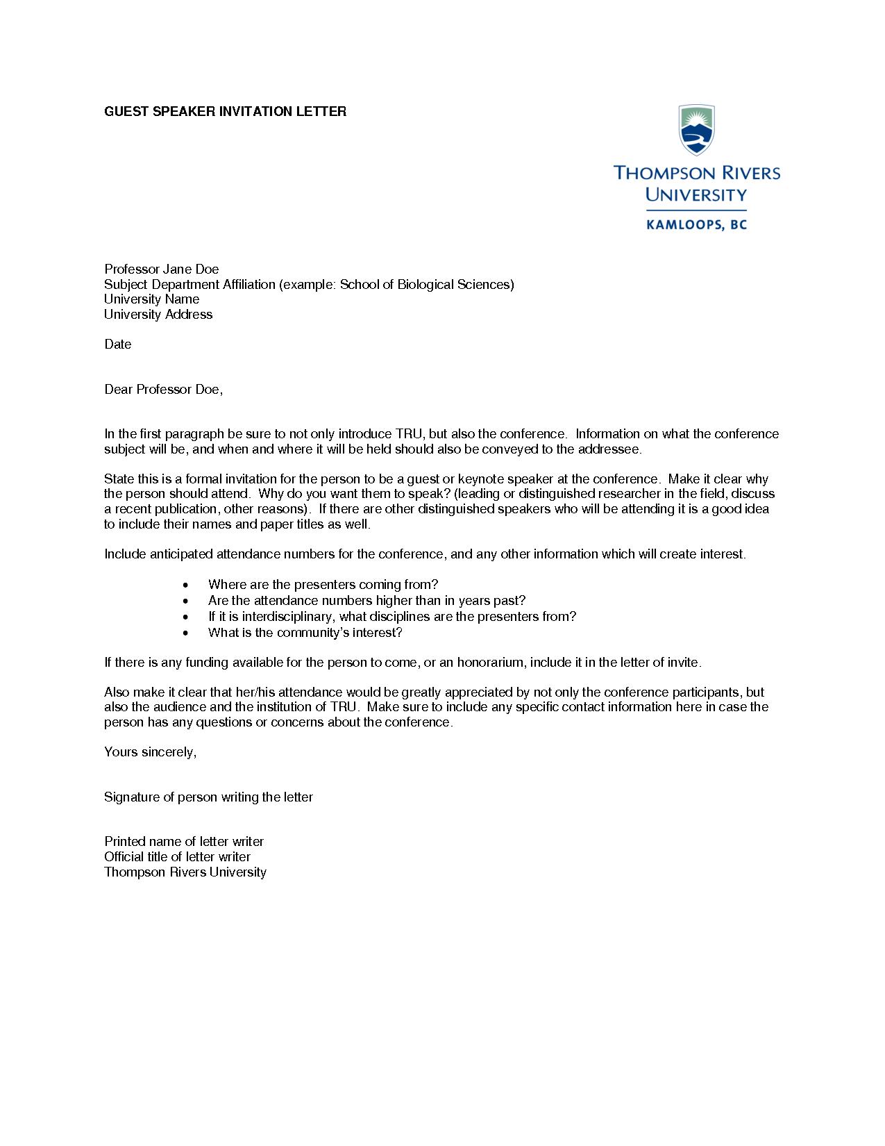 Speaker Invitation Letter Template