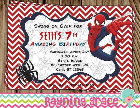 Spider-man Party Invitations Personalized