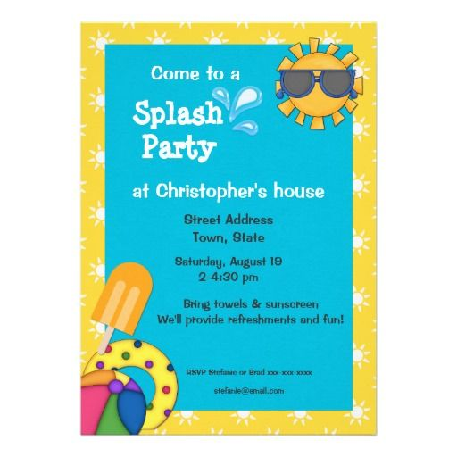 Splash Party Invitations