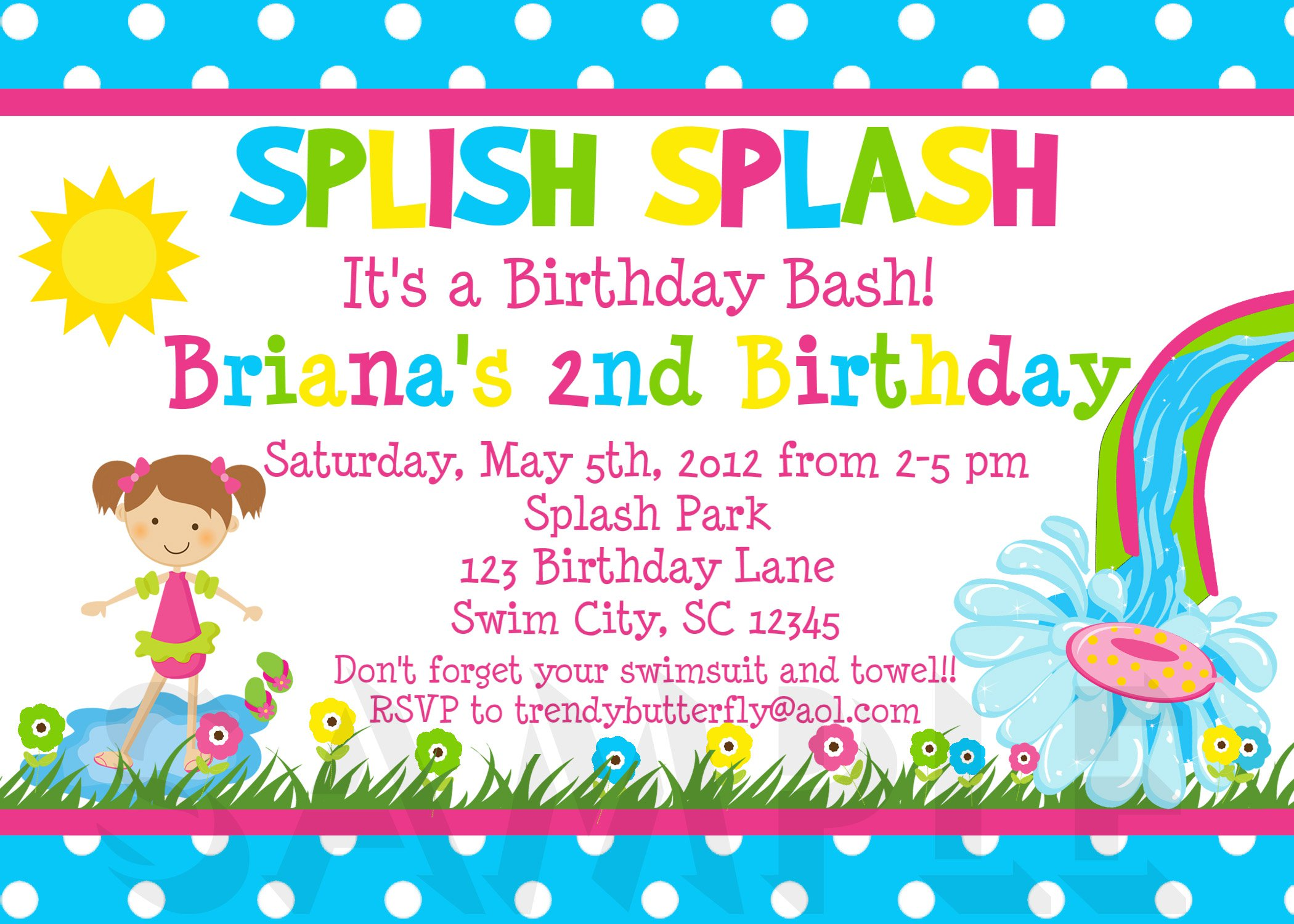 Splash Party Invitations Free Printable