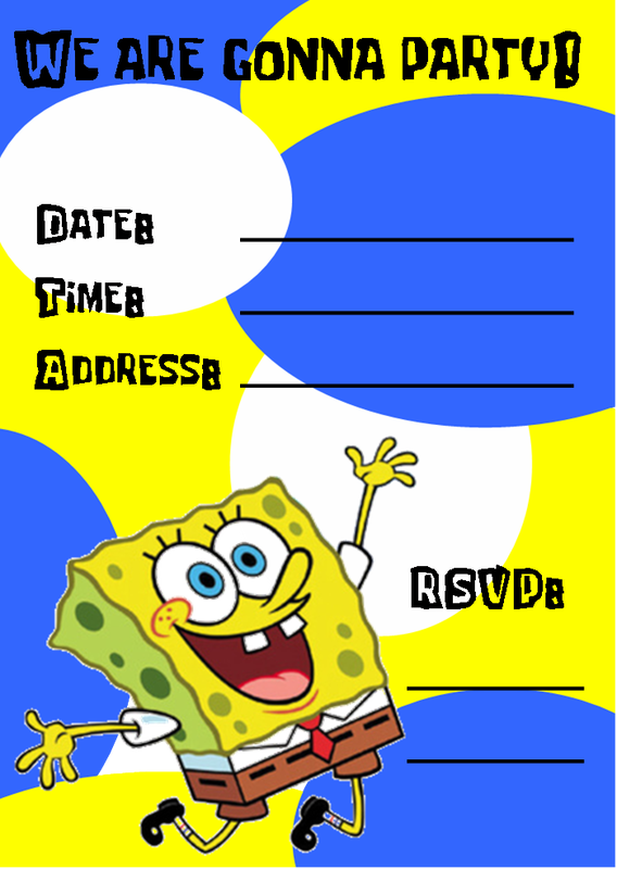 Spongebob Birthday Party Invitation Templates