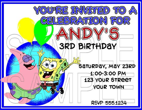 Spongebob Custom Invitations