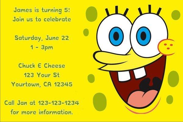 Spongebob Personalized Invitations