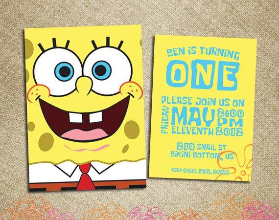 Spongebob Squarepants First Birthday Invitations